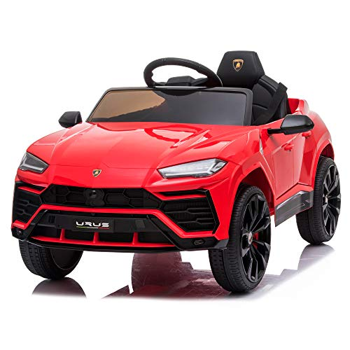 TOBBI 12V Lamborghini Urus Licensed Kids Ride on Car Electric Cars Motorized Vehicles with Remote Control,Four-Wheel Shock Absorbers,Music, Horn, USB, Red