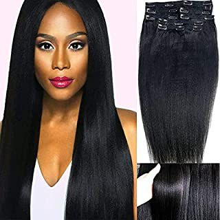 PangDongLai Italian Yaki Straight Clip in Human Hair Extensions 120g 7pcs/set 1B# color Double Weft Thick African Perm Yak...