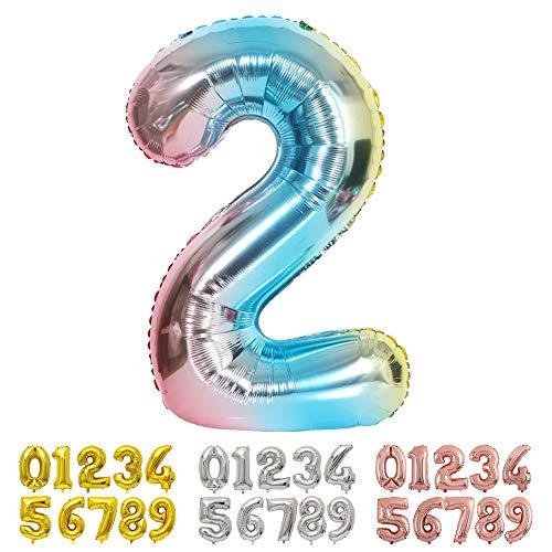 Ponmoo Foil Palloncini Numeri 2 Blu, Gigante Numero 0 1 2 3 4 5 6 7 8 9 10-19 20-29 30 40 50 60 70 80 90 100, Elio Pallone per Anniversario, Decorazione Feste di Compleanno Palloncino