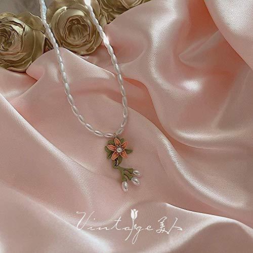 JSYHXYK Collar Elegante Y Suave Collar De Flores De Cadena De Suéter.