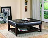 Faux Leather Tufted Ottoman with Storage Shelf Brown and Cappuccino