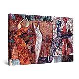 Startonight Cuadro Moderno en Lienzo Pintura Abstracta, Mujeres Africanas, para Salon Decoración de la Pared Enmarcada Grande 80 x 120 cm