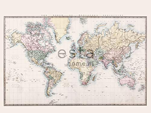 fotobehang vintage map of the world beige, pastel geel, poederroze en groen - 158210 - van ESTAhome