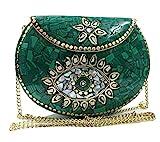 gaurjiya Bolso de metal de mosaico de piedra de color antiguo embrague nupcial étnico bolso de fiesta de embrague indio bolso de mujer (Turquesa)