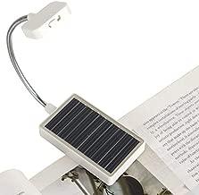 Solar Clip on Book Light,Glovion LED Reading Light USB Rechargeable and Solar Powered,2 Brightness Settings Flexible Neck& Clip-on-White