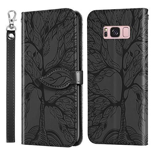 Miagon Prägung Lederhülle für Samsung Galaxy S8 Plus,Handyhülle Tasche Brieftasche Hülle Bookstyle Schutzhülle Flip Case Cover Klapphülle Kartenfächer,Baum Schwarz