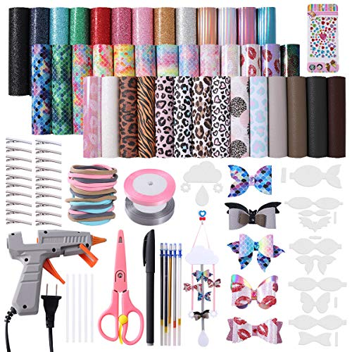Leather Bow Making Kit Include 7 Kinds Faux Leather Sheets Leather Bow Holder Hair Clips Scissor Bow Template Hot Melt Glue Gun with Glue Stick Hair Ties Water-Soluble Pens Diamond Stickers