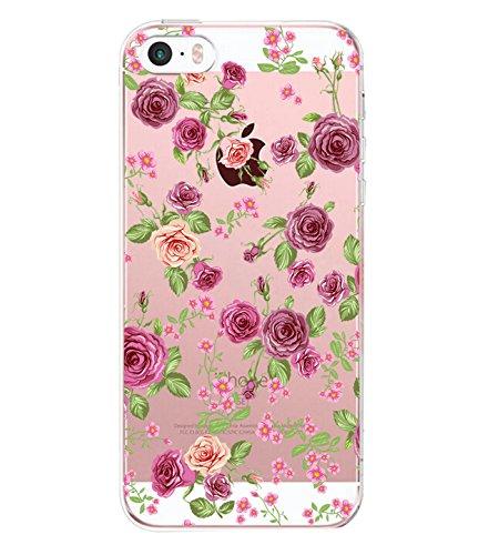 AIsoar Funda para iPhone 5 iPhone 5S de TPU con diseño de flores rosas, para iPhone 5S 5 SE Populares Oso Gato Carcasa Anti-Scratch Gel Silicona Funda para iPhone 5S 5 SE Rosa M