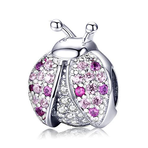 Charms Bead, ciondolo coccinella cristallo benedizione rosa perline ciondolo misura pandora braccialetto e collana accessori gioielli regalo per donne e ragazze