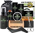 Best 10 in 1 Beard Grooming & Growth Kit w/Beard Oil,Beard Shaping Tool,Beard Wash/Shampoo,Beard Balm,Beard Comb,Beard Brush,Beard Scissor,Storage Bag,Gifts for Men Him Dad by ZECREK
