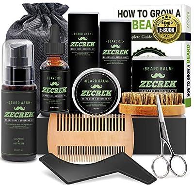 Best 10 in 1 Beard Grooming & Growth Kit w/Beard Oil,Beard Shaping Tool,Beard Wash/Shampoo,Beard Balm,Beard Comb,Beard Brush,Beard Scissor,Storage Bag,Gifts for Men Him Dad