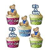 It's A Boy – Oso de peluche azul – Decoraciones precortadas para magdalenas comestibles – Baby Shower – Reveal de género – Baby Boy (Paquete de 12)
