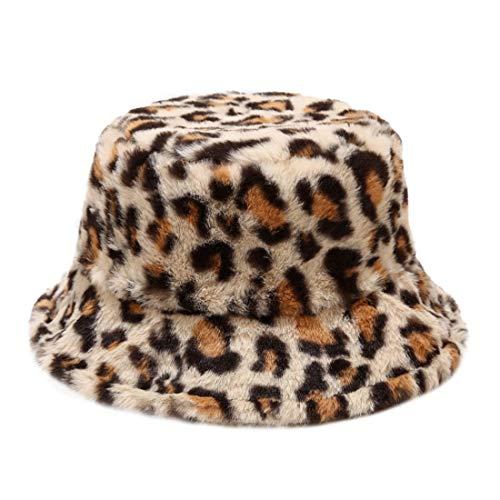 Vertvie Damen Fischerhüte dick warm Plüschhut Leopard Wintermütze flauschig Faltbar Sonnenhut Weich Eimer Hut Lässig Mode Bucket Hat Wandern Outdoor Camping Reisen