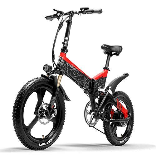 LANKELEISI G650 Bicicletta elettrica 20 Pollici Mountain Bike Pieghevole E-Bike 400W 48V Batteria al Litio 7 velocità Pedale Assist Bicicletta Doppia Sospensione (Red, Plus 1 Extra 14.5Ah)