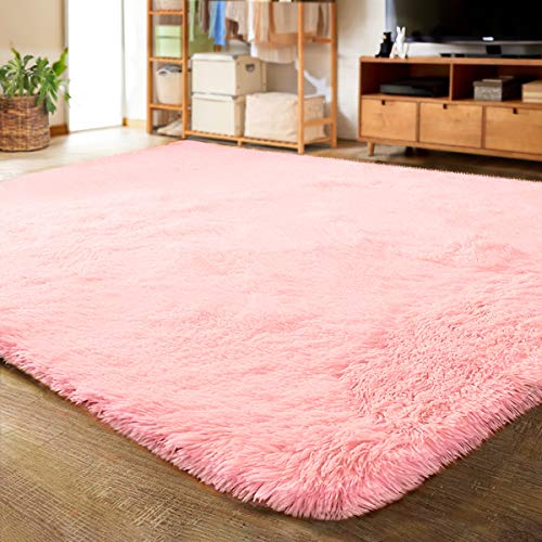 LOCHAS Ultra Soft Indoor Modern Area Rugs Fluffy Living Room Carpets for Children Bedroom Home Decor Nursery Rug 4x5.3 Feet, Pink