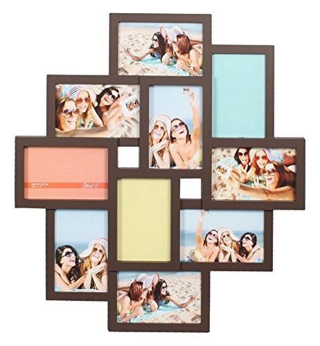 Ideal Gallery Bilderrahmen in Weiß Schwarz Braun für 10 Fotos 10x15 Foto Collage: Farbe: Braun