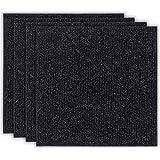 andiamo teppefliser selvklebende, filtfliser, nålefilt, fliser à 50x50 cm, Made in Belgium, farge: svart, størrelse: 1 m²