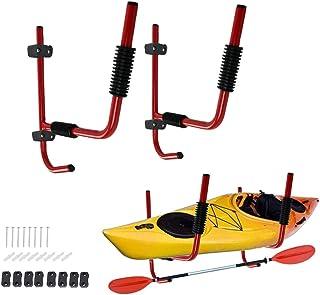 GSOU 1 Pair Heavy Duty Steel Kayak Wall Racks Wall Mount Canoe Surfboard Folding Holder Storage w/Hook Wall Hanger for Ind...