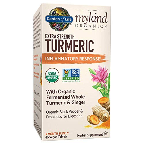 Garden of Life mykind Organics Extra Strength Turmeric Inflammatory Response 60 Tablets-100mg Curcumin (95% Curcuminoids) Black Pepper, Probiotics, Organic Non-GMO Vegan Gluten Free Herbal Supplement