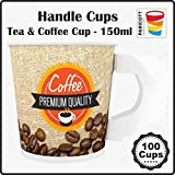 Paricott 150ml Handle Cup Coffee Printed with Disposable Paper Cups Hot & Cold