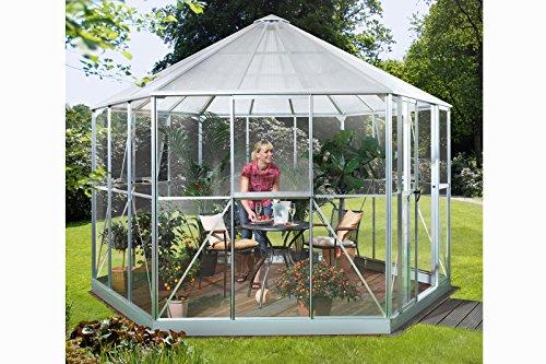 Vitavia Gewächshaus Hera aus Alu/Glas silber Hera 9000, ESG/HKP 6 mm