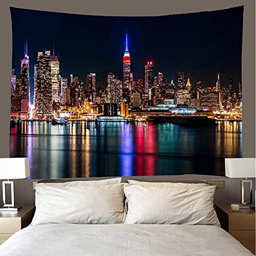 shuimanjinshan Wandteppich Wandbehänge New Yorker Nachtansicht Tapisserie Wandtuch Hausdeko Strandtuch Tagesdecke Boho Deko (A-535) 260X300Cm