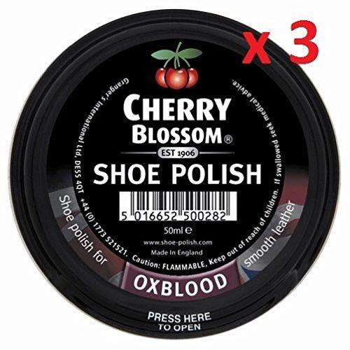 3Dosen Ox Blood Cherry Blossom Schuh Boot Polish 50ml hergestellt in der UK