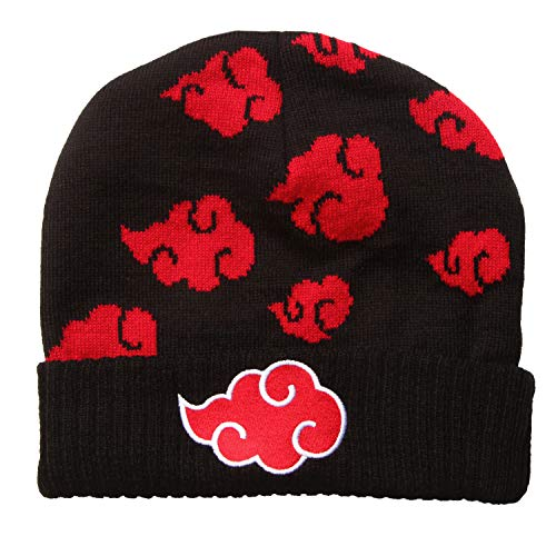 Naruto Akatsuki Red Cloud Logo Tossed Repeating Pattern with Emroidered Patch Adult Knit Cuffed Beanie Hat - Black/Red