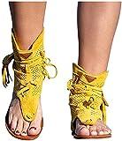 DMWMD Sandalias para Mujer 2021 Nuevas Sandalias con borlas para Mujer, Retro Romano Bohemio Gladiador Sandalias Casuales Botines con Punta Plana Zapatos de Playa Sandalias de Moda