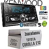 Toyota Corolla E12/120 - Autoradio Radio kompatibel mit Kenwood DPX-5100BT - 2-DIN Bluetooth USB Apple Android Autoradio PKW KFZ Paket - Einbauzubehör - Einbauset