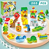 Building Blocks Set for Toddlers, Creative Large Building Bricks, Animals Building Kit, DIY Construction Toy, Preschool Learning Educational Toys for Kids Boys Girls Gifts for 3+ Year Old (265 Pieces)