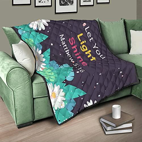 AXGM Colcha con diseño de margaritas y flores que deja pasar la luz, manta para el salón, con impresión 3D, para viajes, camping, color blanco, 200 x 230 cm