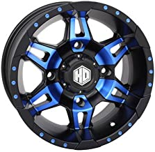 4/156 STI HD7 Alloy Wheel 14x7 4.0 + 3.0 Matte Black/Radiant Blue for Polaris RANGER 800 HD 2014