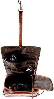 Aski Bags Kulturtasche ROLL UP | Echtes Leder | Kulturbeutel Rollbar Aufhängen Braun Schwarz Für Herren Und Damen | by Alpenleder Cognac