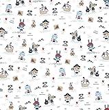 Tela de algodón orgánico para niños, 0,5 m, con animales como piratas, precortada.