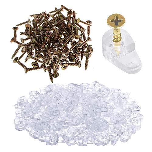 50 Paquete Clips de Plástico para Paneles de Vidrio con Tornillo, Kit de Clips de Retención de Vidrio, para Fijar Puertas de Gabinetes de Vidrio