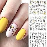 PMSMT 11 Modelos/Hoja línea Negra Colorida Imagen Abstracta Pegatinas de uñas para niñas Control Deslizante de Transferencia de Agua Sexy para uñas
