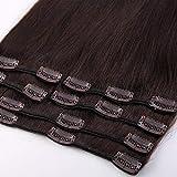 Extension a Clip Cheveux Naturel - Rajout 100% Cheveux Humain à Clips 8 Bandes Epaisseur Moyenne (#02 Chocolat Foncé, 20cm-65g)