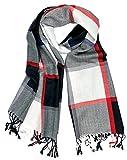 Plum Feathers Luxurious Classic Plaid Pattern Pashmina Blanket Scarf (Black White Windowpane)