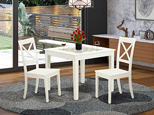 3 Pcsquare Kitchen Table and 2 Wood Kitchen Dining Chairs in Linen White