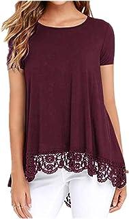 Popular camiseta suelta de cuello redondo de manga corta con panel de encaje para mujer