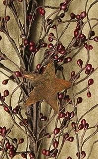 Pip Berry and Star Garland 40-Inch Burgundy Berries and TIN Stars