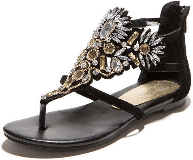 AllhqFashion Women's Open Split Toe Sheepskin Solid Sandals with Glass Diamond and Zircon