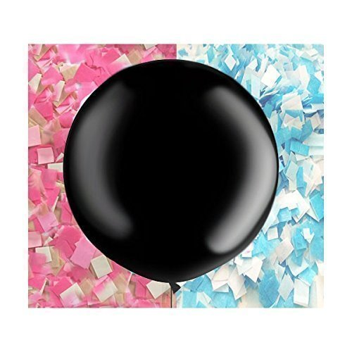"36"" Black Gender Reveal Balloon Plus Pink and Blue Confetti, Not a Cheap Imported Balloon!"
