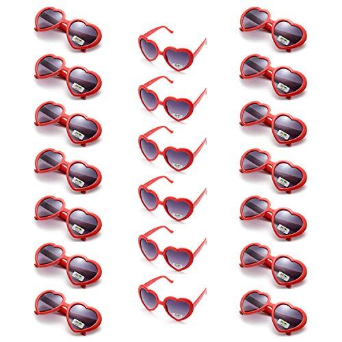 Onnea 20 Piezas Gafas de Sol Fiesta Forma de Corazón Neon Colores Paquete para Mujer Hombres (20 Rojo)