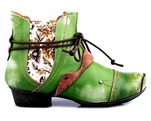 TMA 1858 Modische Damen Stiefeletten Stiefel Schuhe Leder grün alle Gr.36-42 EUR 38