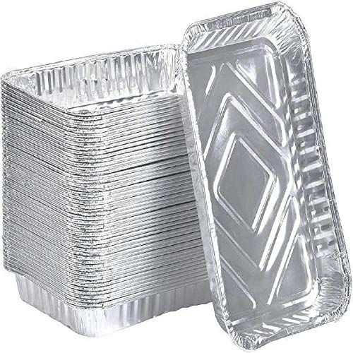 18.5 x 13.2 cm Disposable Aluminum Foil Pans | Oblong Cookware Pans Best Use for Baking, Meal Preparations, Cooking, Roasting, Take Outs, Grilling, Toasting | With Foil Lids | (20)