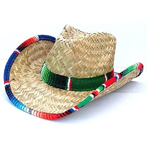 3083e75ea33 Jacobson Hat Company Western Cowboy Adult Straw Mexican Hat With Serape  Band Trim Costume Accessory