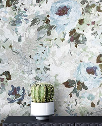 NEWROOM Tapete Vintage Rosen beige Vliestapete weiß Vlies moderne Mustertapete Tapete Blumentapete Wallpaper Floral inkl. Tapezier Ratgeber