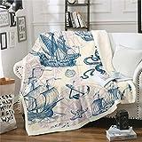 Feelyou Vintage Nautical Fleece Throw Blanket Old Sailboat Anchor Plush Blanket Marine Ocean Themed Fuzzy Blanket and Throws Sea Shell Starfish Fluffy Sherpa Blanket Throw 50'X60'